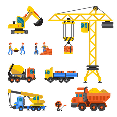 technic: Building under construction, workers and construction technic vector illustration. Building mixer truck, crane vector. Under construction concept. Workers in helmet, construction machine isolated Illustration