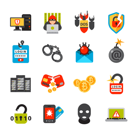 it technology: Internet security safety icons. Virus attack vector icons. Internet data protection security. Technology cloud network icons. IT security concept icons infographic design elements. Cyber crimes