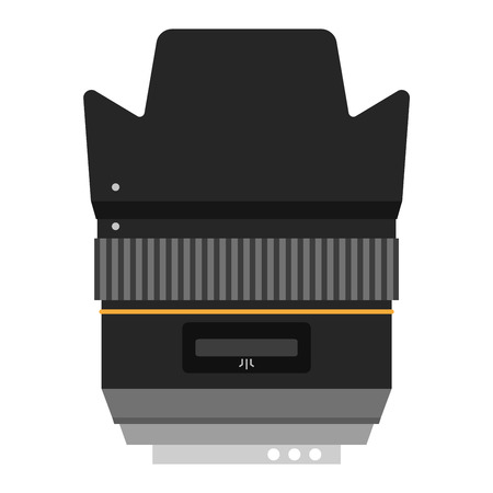 Camera photo optic lense on white background vector. Objective equipment, professional look photo optic lense. Photo optic lense igital equipment optical technology. Illustration