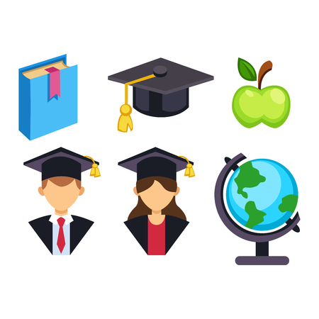 poppers: Education school graduation icons set on white background. Graduation education university school college cap student symbols. Vector graduation education success diploma academic symbols.