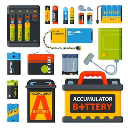 voltage symbol: Battery electricity charge technology and alkaline battery. Flat battery accumulator charger symbol generation voltage. Group of different size color batteries electricity charge technology vector.
