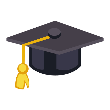 academic achievement: Graduation cap diploma hat icon vector illustration. University school graduation hat icon and student ceremony graduation symbol. Achievement academic degree graduate success