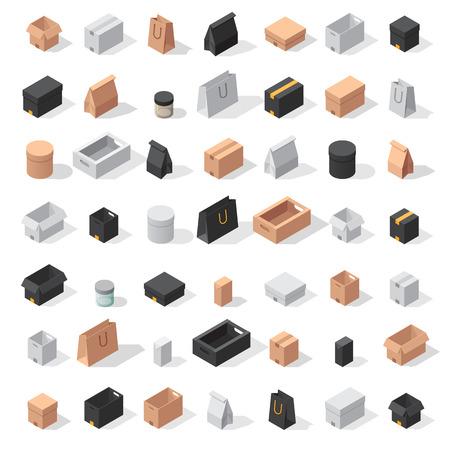 Verschillende doosvector iconen op een witte achtergrond. Verplaats servicevak vector iconen. Vector gift box container verpakking. Winkelzak doos kartonnen pakket, neem verpakken en voedsel jar Stock Illustratie