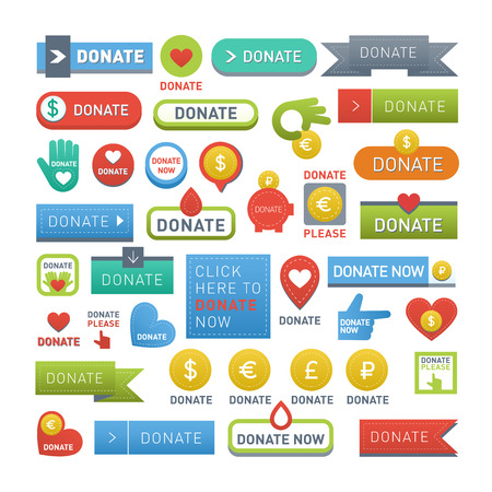 Vector donate concept hand and money set of buttons in flat style. Donation gift charity, isolated web donate buttons design sign contribute. Money giving symbol donate buttons set. Vettoriali