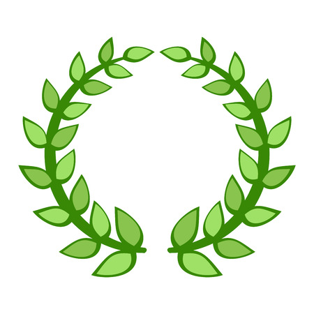laurel leaf: Wreath branch award design element. Vector gold branch award and laurel branch. Winner ornate leaf branch award certified sport champion. Success victory circle. Illustration