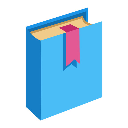 blue book: Isometric book on white background. Cover paper education blue book and learning hardcover. Read book library information study textbook. Learn paper sheet old design. Illustration