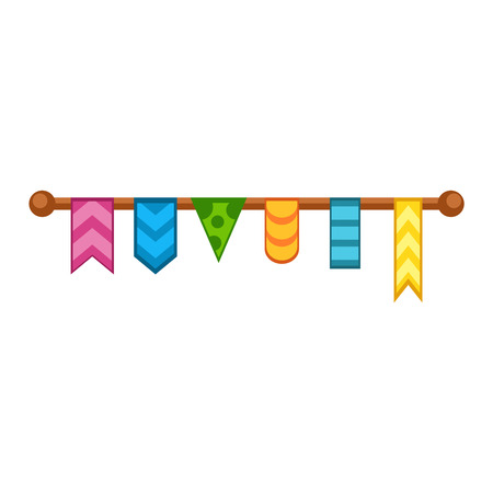 festive: Bunting festive flags and garland festive flags set. Colorful festive flags vector illustration. Elements festive flags celebrate, party or festival design festive flags. Triangle celebrate festive Illustration