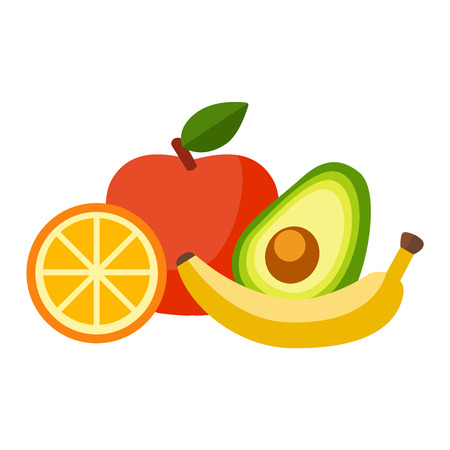tropical fruits: Mix of colored tropical fruits on white background. Composition of tropical and mediterranean fruits healthy food concepts decoration. Vitamin healthy eating food tropical fruits vegetarian nutrition.