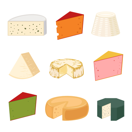 Delicious fresh cheese variety icon flat set isolated vector illustration. Dairy cheese varieties food and milk camembert piece cheese varieties. Different delicatessen gouda cheese varieties . Ilustracja