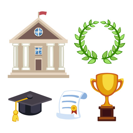 golden apple: Education school graduation icons set on white background. Graduation education university school college cap student symbols. Vector graduation education success diploma academic symbols.