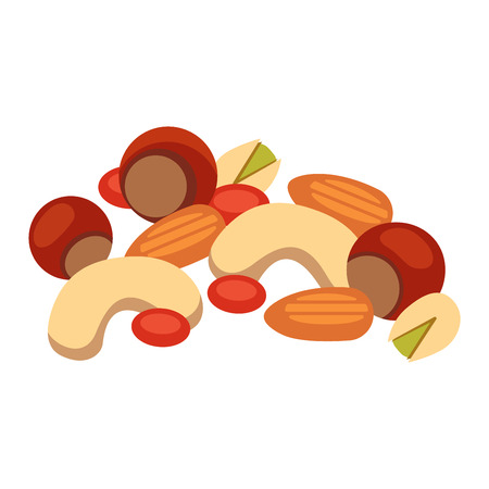 hazelnut: Heap from various kinds of nuts. Pile of nuts almond, hazelnut, cashew, brazil nut isolated on white. Pile of nuts organic healthy seed ingredient and pile of nuts heap almond nature nuts. Illustration