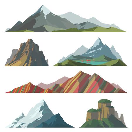 Différent vecteur de montagne illustration. Ensemble d'éléments de silhouette de montagne. icône neige en plein air sommets des montagnes de glace, décoratifs isolés. Camping escalade paysage de montagne Voyage ou randonnée montagnes