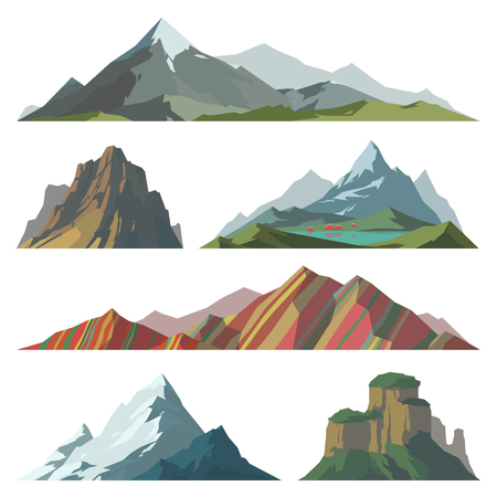 Different mountain vector illustration. Set of mountain silhouette elements. Outdoor icon snow ice mountain tops, decorative isolated. Camping mountain landscape travel climbing or hiking mountains Vettoriali