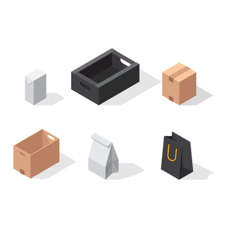take out: Different box vector icons isolated on white background. Move service box vector icons. Vector gift box container packaging. Shop bag box carton package paper, take out pack and food jar