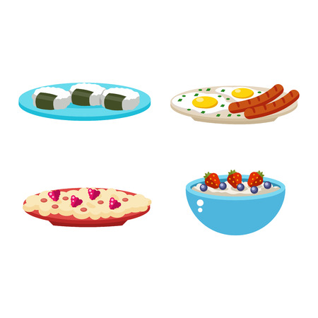 carbohydrates: Healthy nutrition, proteins fats carbohydrates breakfast balanced diet, cooking, culinary and food concept vector. Healthy breakfast nutrition vegetables fruits, meat nutrition. Morning breakfast