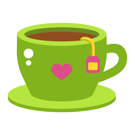 green tea cup: Green tea cup vector illustration. Hot cup with green tea and green leaves. Green tea healthy drink. Fresh green tea fresh hot drink. Isolated tea cup