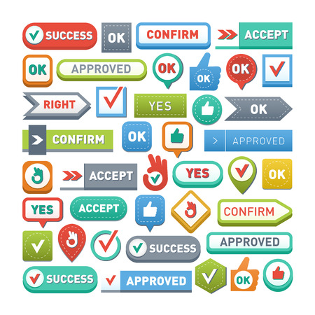 ok button: UI interface buttons ok, yes, approve and go. Vector internet check ok button positive isolated. Website accept ok button success mark approved tick concept. Correct shiny sign. Illustration