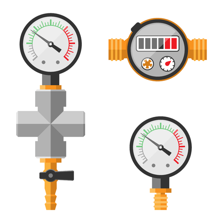 sensor: Pressure sensor manometer tool vector icon or pressure sensor on factory pipeline. Circle pressure temperature manometer sensor control for industrial. Water manometer pressure