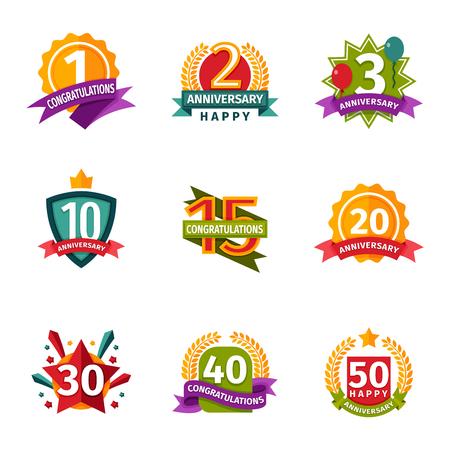 date stamp: Birthday badge banner design flat background set. Happy birthday badges celebration design emblem set. Anniversary card happy birthday badges birth date paper sticker vector symbol. Illustration