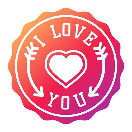 Vector Ti amo badge foto moderne insegne scritte, testo ispiratore. testo bella Ti amo segui il tuo cuore tipo romantico. Ti amo distintivo decorazioni segno del messaggio. Vettoriali