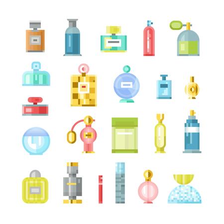 odors: Set of vector perfume fashion container smell spray pixel art. Vector illustration perfume shop symbols elegant merchandise gift. Beauty liquid luxury fragrance aroma perfume bottle aromatherapy.