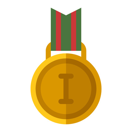 first place: Award ribbon medal first place vector and medal first place award winner ribbon achievement. Medal first place success symbol and medal first place champion sport. Medal first place emblem trophy. Illustration