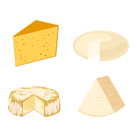 delicatessen: Delicious fresh cheese variety icon flat set isolated vector illustration. Dairy cheese varieties food and milk camembert piece cheese varieties. Different delicatessen gouda cheese varieties . Illustration