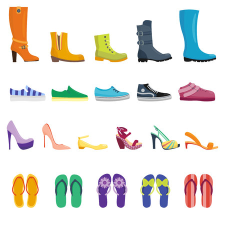 leather shoes: Different shoes isolated collection of various types footwear vector illustration. Shoes isolated fashion footwear and leather shoes isolated. Shoes isolated elegance sport casual accessory.