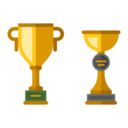 best leadership: Vector trophy champion cup flat icon. Champion cup winner trophy award and victory prize champion cup. Champion cup sport success and best win champion leadership award competition. Illustration