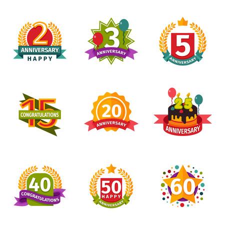 date of birth: Birthday badge banner design flat background set. Happy birthday badges celebration design emblem set. Anniversary card happy birthday badges birth date paper sticker vector symbol. Illustration