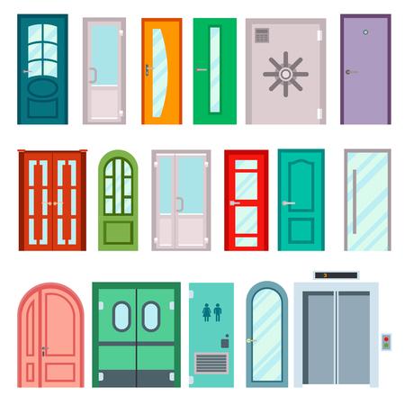 color in: Conjunto de puertas del color aislados en blanco. puertas delanteras de colores para casas y edificios situados en el estilo de diseño plano aislado. Ilustración del vector puertas aisladas moderna nueva decoración abierta cerradura de la habitación elegante. Vectores