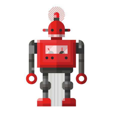 かわいいロボットのベクトル文字。ロボット技術マシン未来科学グッズ。サイボーグの未来的なデザインのロボットおもちゃのロボット。かわいい
