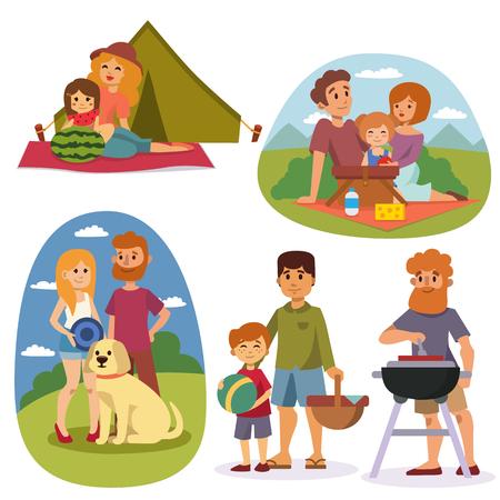Famille pique-nique été parc de style de vie heureux ensemble extérieur, profitant vecteur de caractères prairie de vacances. Famille vacances de pique-nique et pique-nique familial d'été. Happy family pique-nique repos en plein air.