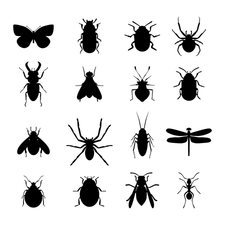 Insect icons black silhouette flat set isolated on white background. flat icons vector illustration. Nature flying insects isolated icons. Ladybird, butterfl beetle vector ant. Illustration
