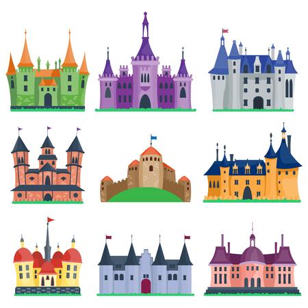Cartoon fairy tale kasteeltoren icoon. Leuke cartoon kasteel architectuur. Vector illustratie fantasy huis sprookjesachtige middeleeuwse kasteel. Princess cartoon kasteel cartoon bolwerk ontwerp fabel geïsoleerd.