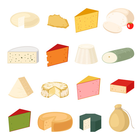 variety: Delicious fresh cheese variety icon flat set isolated vector illustration. Dairy cheese varieties food and milk camembert piece cheese varieties. Different delicatessen gouda cheese varieties . Illustration