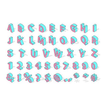 Isometric alphabet typography text and isometric alphabet perspective letter art. Isometric alphabet latin number retro 3d typeface. Isometric alphabet font 3D letters for web mobile device vector. Stock Vector - 61776132