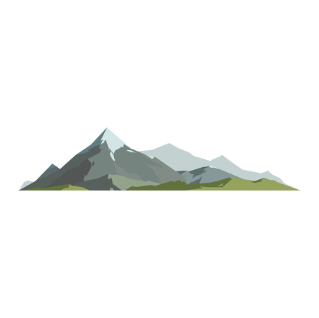 Mountain vector illustration. Nature mountain silhouette elements. Outdoor icon snow ice mountain tops, decorative isolated. Camping mountain landscape travel climbing or hiking mountains Vettoriali