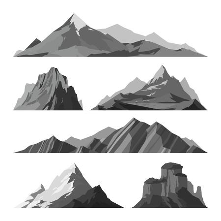 Mountain vector illustratie. Natuur bergsilhouet elementen. Outdoor pictogram sneeuw ijs bergtoppen, decoratief geïsoleerd. Camping berg reizen landschap klimmen of wandelen bergen