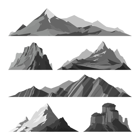 Mountain vector illustration. Nature mountain silhouette elements. Outdoor icon snow ice mountain tops, decorative isolated. Camping mountain landscape travel climbing or hiking mountains Çizim