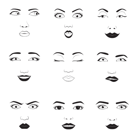 Girl emotion faces cartoon vector illustration. Woman emoji face icons and woman emoji face cute symbols. Woman emoji face happy vector and woman emoji face character symbols. Human expression sign Illustration