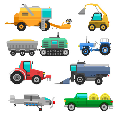 Set of different types of agricultural vehicles and harvester machine, combines and excavators. Icon set agricultural harvester machine with accessories for plowing, mowing, planting and harvesting. Illustration