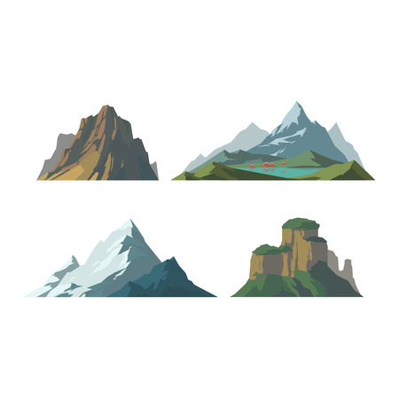 snow climbing: Mountain vector illustration. Nature mountain silhouette elements. Outdoor icon snow ice mountain tops, decorative isolated. Camping mountain landscape travel climbing or hiking mountains Illustration