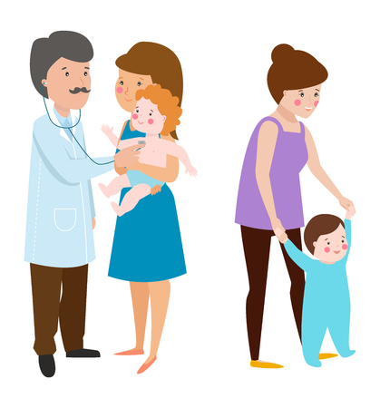 motherhood: Young mother reception at the doctor vector character and young mother happy parent. Newborn face young mother lifestyle cheerful motherhood. Young family portrait. Mother and baby