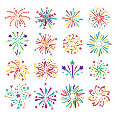 Feestelijk vuurwerk uiteenspatten vorm vuurwerk pictogrammen geïsoleerd. Vuurwerk abstract vector geïsoleerde illustratie en feest vuurwerk vakantie viering vectorteken plezier. Vuurwerkshow geïsoleerde
