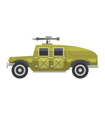 Army vector car and military transport. Army military auto world truck machine and old wheel auto military vehicle. Camouflage american military vehicle machine with gun road combat force.