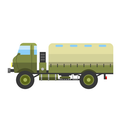 vehicle combat: Army vector car and military transport. Army military auto world truck machine and old wheel auto military vehicle. Camouflage american military vehicle machine with gun road combat force.