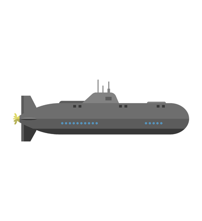 Isolated military submarine old army sea ship transport vector illustration. Submarine weapon sub design and submarine transportation. Submarine periscope transport boat metal vessel.
