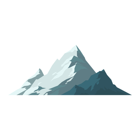 Mountain vector illustration. Nature mountain silhouette elements. Outdoor icon snow ice mountain tops, decorative isolated. Camping mountain landscape travel climbing or hiking mountains 矢量图像