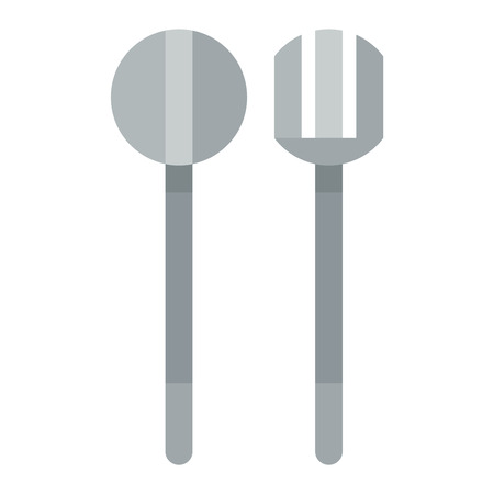 Silverware cutlery dinner dishware and kitchen cutlery silver tool. Cutlery equipment flatware dining tool. Spoon and fork vector flat vector illustration.